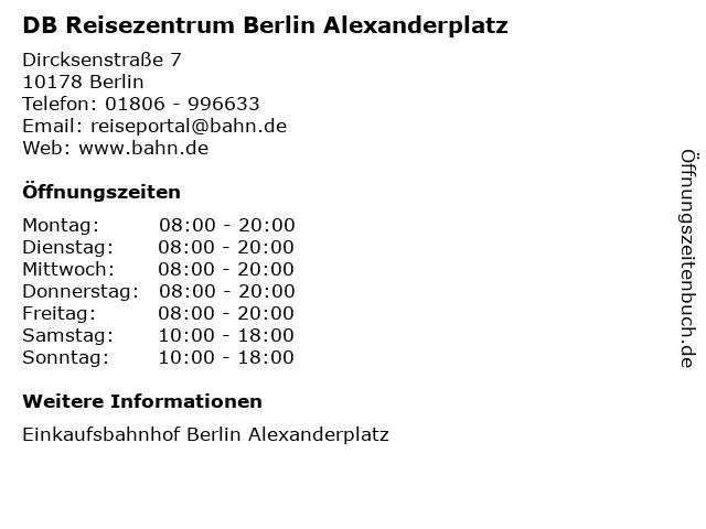 DB Reisezentrum Berlin Alexanderplatz in Berlin: Adresse und Öffnungszeiten