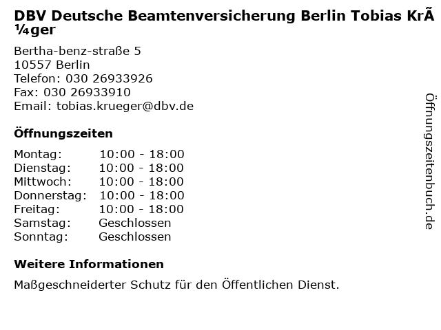 DBV Deutsche Beamtenversicherung Berlin Tobias Krüger in Berlin: Adresse und Öffnungszeiten