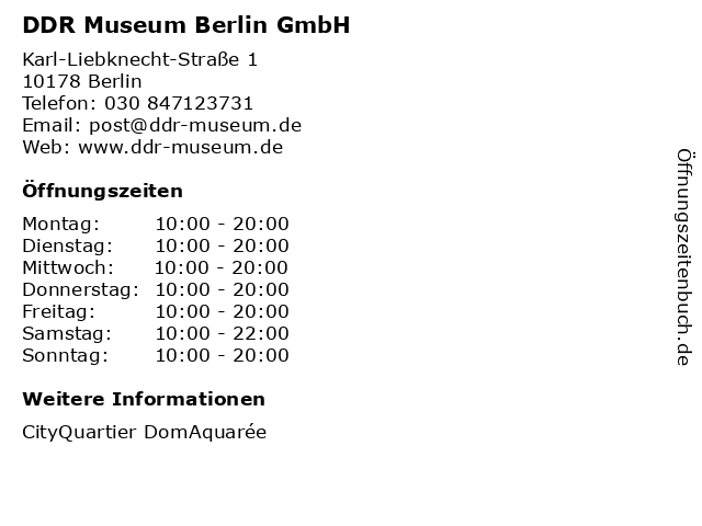 DDR Museum Berlin GmbH in Berlin: Adresse und Öffnungszeiten