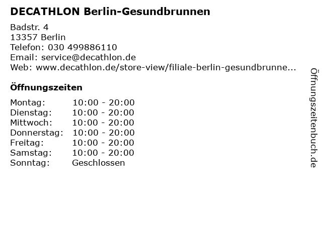 DECATHLON Berlin-Gesundbrunnen in Berlin: Adresse und Öffnungszeiten