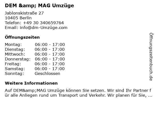 DEM & MAG Umzüge in Berlin: Adresse und Öffnungszeiten