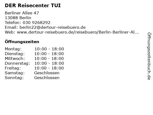 DER Reisecenter TUI in Berlin: Adresse und Öffnungszeiten