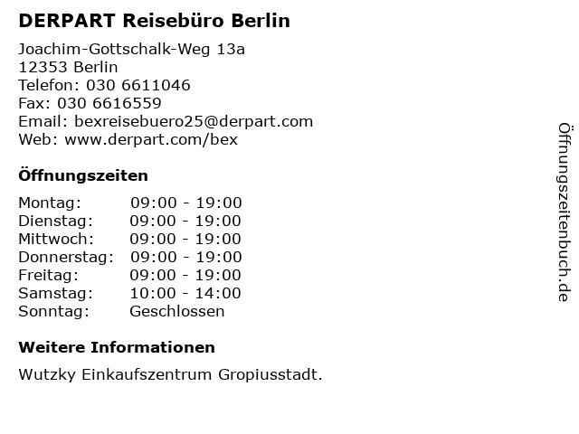 DERPART Reisebüro Berlin in Berlin: Adresse und Öffnungszeiten
