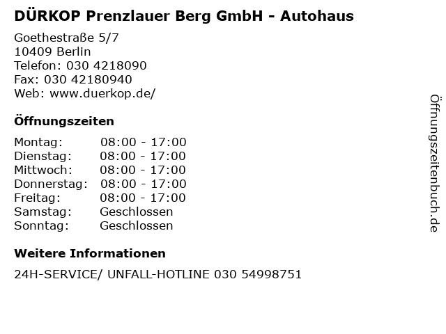 DÜRKOP Prenzlauer Berg GmbH - Autohaus in Berlin: Adresse und Öffnungszeiten