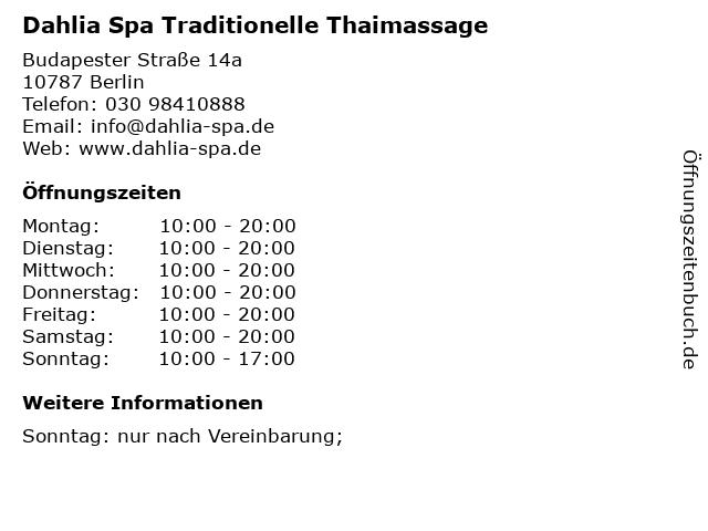 Dahlia Spa Traditionelle Thaimassage in Berlin: Adresse und Öffnungszeiten