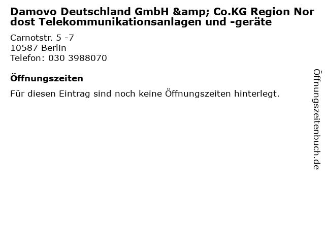 Damovo Deutschland GmbH & Co.KG Region Nordost Telekommunikationsanlagen und -geräte in Berlin: Adresse und Öffnungszeiten