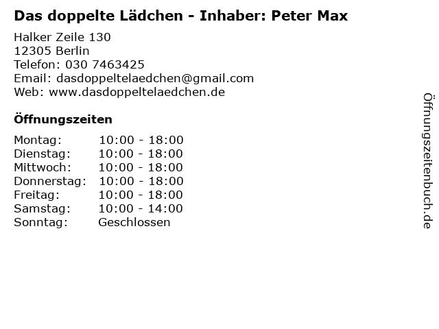 Das doppelte Lädchen - Inhaber: Peter Max in Berlin: Adresse und Öffnungszeiten