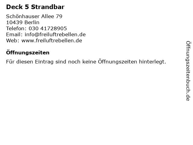 Deck 5 Strandbar in Berlin: Adresse und Öffnungszeiten