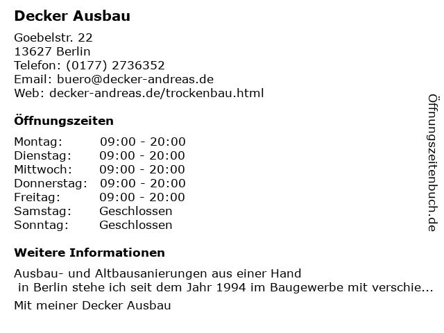 Decker Ausbau in Berlin: Adresse und Öffnungszeiten