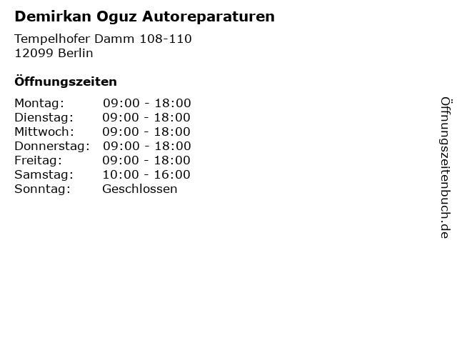 Demirkan Oguz Autoreparaturen in Berlin: Adresse und Öffnungszeiten