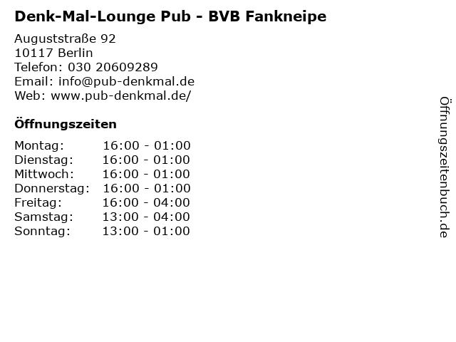 Denk-Mal-Lounge - COCKTAIL-MUSIK- BIER & SPORTS- PUB in Berlin: Adresse und Öffnungszeiten