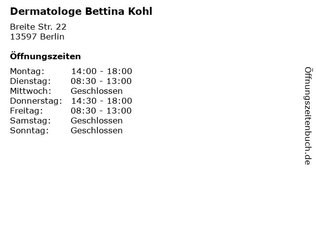 Dermatologe Bettina Kohl in Berlin: Adresse und Öffnungszeiten