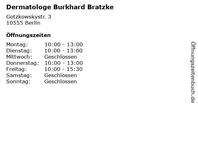 """ᐅ Öffnungszeiten """"Dermatologe Burkhard Bratzke"""