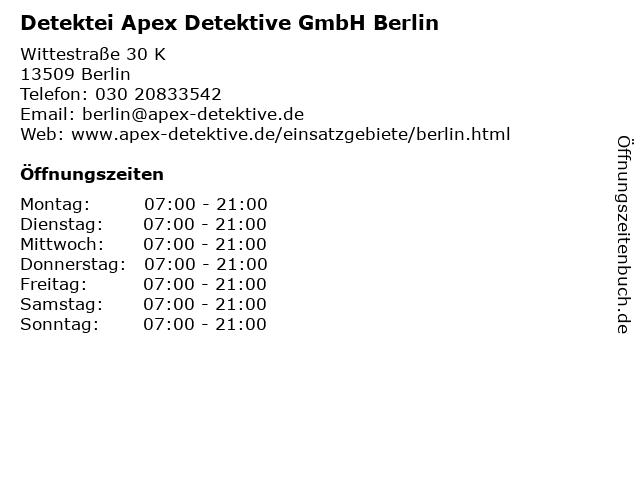 Detektei Apex Detektive GmbH Berlin in Berlin: Adresse und Öffnungszeiten