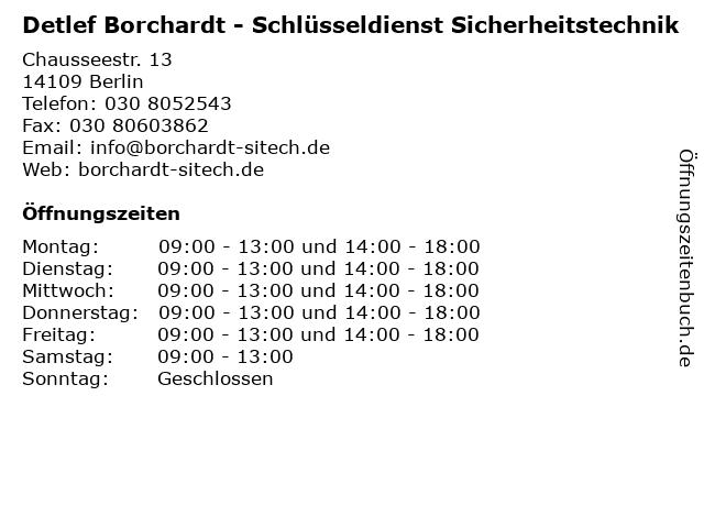 Detlef Borchardt - Schlüsseldienst Sicherheitstechnik in Berlin: Adresse und Öffnungszeiten