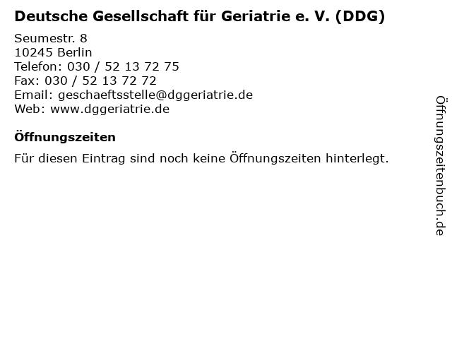Deutsche Gesellschaft für Geriatrie e. V. (DDG) in Berlin: Adresse und Öffnungszeiten