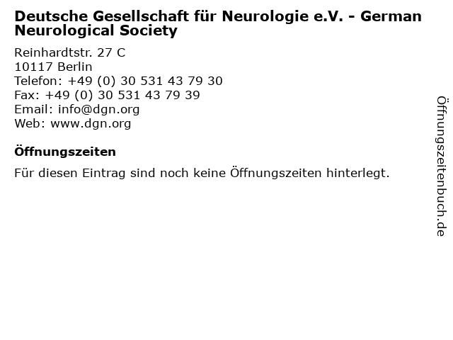 Deutsche Gesellschaft für Neurologie e.V. - German Neurological Society in Berlin: Adresse und Öffnungszeiten