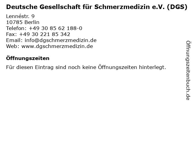 Deutsche Gesellschaft für Schmerzmedizin e.V. (DGS) in Berlin: Adresse und Öffnungszeiten