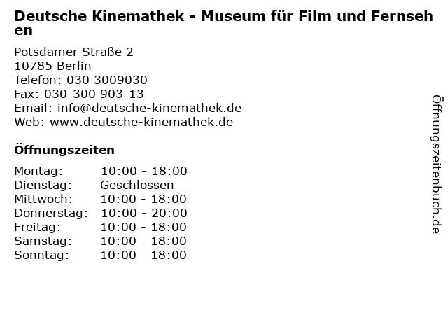 Deutsche Kinemathek - Museum für Film und Fernsehen in Berlin: Adresse und Öffnungszeiten