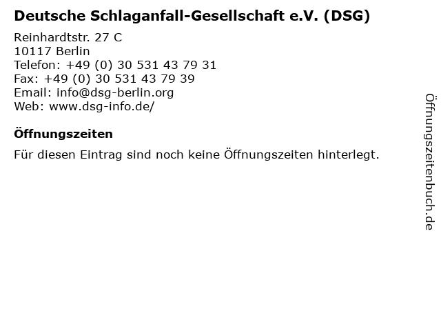 Deutsche Schlaganfall-Gesellschaft e.V. (DSG) in Berlin: Adresse und Öffnungszeiten