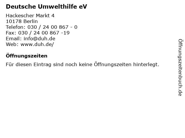 Deutsche Umwelthilfe eV in Berlin: Adresse und Öffnungszeiten