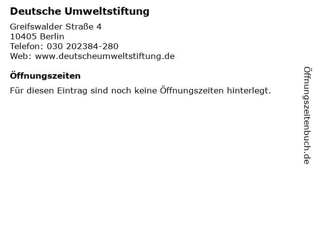 Deutsche Umweltstiftung in Berlin: Adresse und Öffnungszeiten