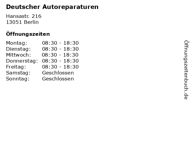 Deutscher Autoreparaturen in Berlin: Adresse und Öffnungszeiten