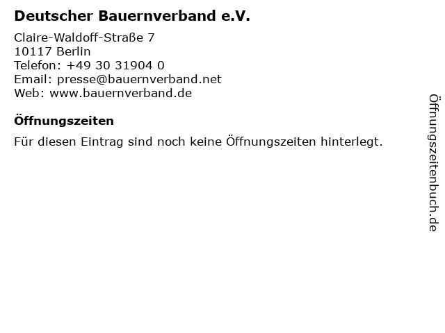 Deutscher Bauernverband e.V. in Berlin: Adresse und Öffnungszeiten