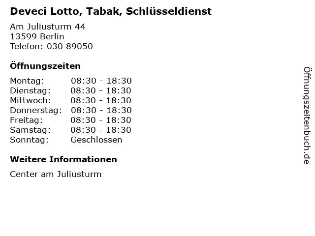 Deveci Lotto, Tabak, Schlüsseldienst in Berlin: Adresse und Öffnungszeiten