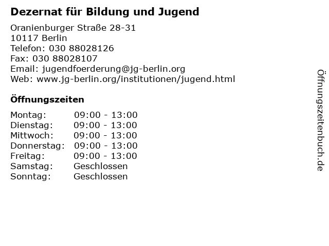 Dezernat für Bildung und Jugend in Berlin: Adresse und Öffnungszeiten