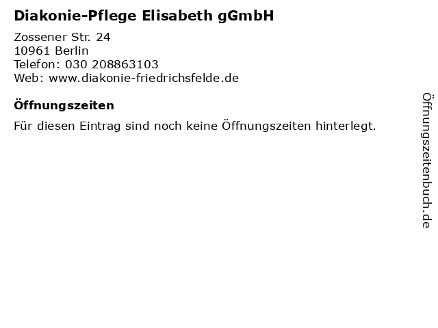 Diakonie-Pflege Elisabeth gGmbH in Berlin: Adresse und Öffnungszeiten