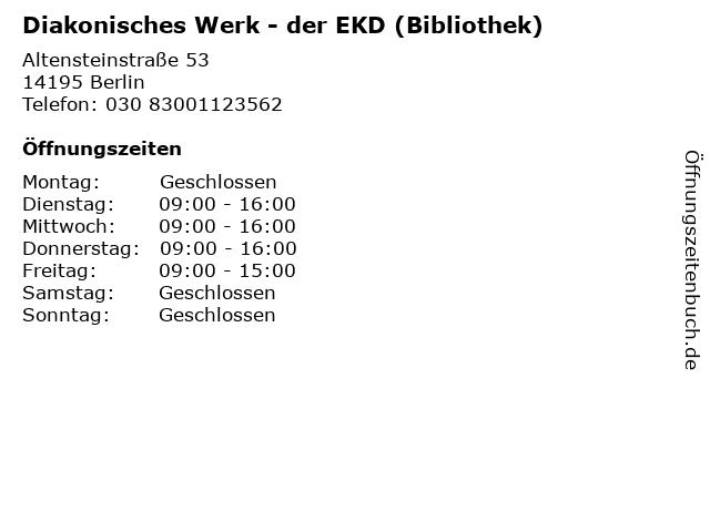 Diakonisches Werk - der EKD (Bibliothek) in Berlin: Adresse und Öffnungszeiten
