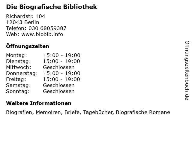Die Biografische Bibliothek in Berlin: Adresse und Öffnungszeiten