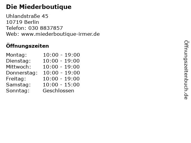 Die Miederboutique in Berlin: Adresse und Öffnungszeiten