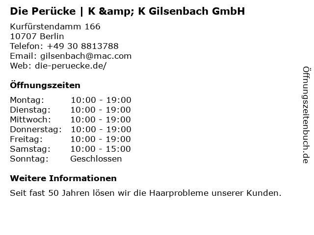 Die Perücke | K & K Gilsenbach GmbH in Berlin: Adresse und Öffnungszeiten