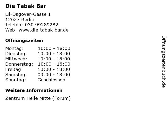 Die Tabak Bar in Berlin: Adresse und Öffnungszeiten
