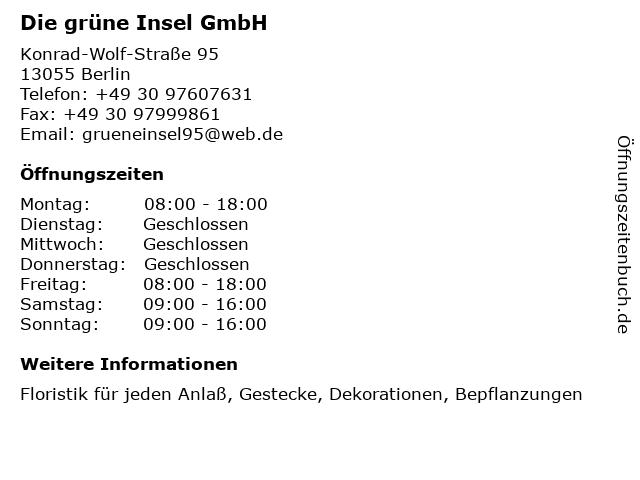 Die grüne Insel GmbH in Berlin: Adresse und Öffnungszeiten