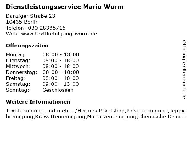 Dienstleistungsservice Mario Worm in Berlin: Adresse und Öffnungszeiten