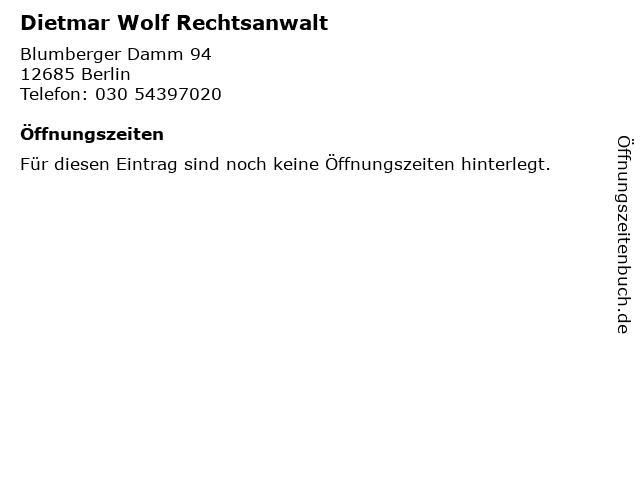 Dietmar Wolf Rechtsanwalt in Berlin: Adresse und Öffnungszeiten