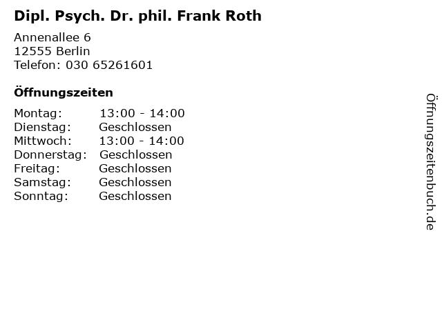 Dipl. Psych. Dr. phil. Frank Roth in Berlin: Adresse und Öffnungszeiten