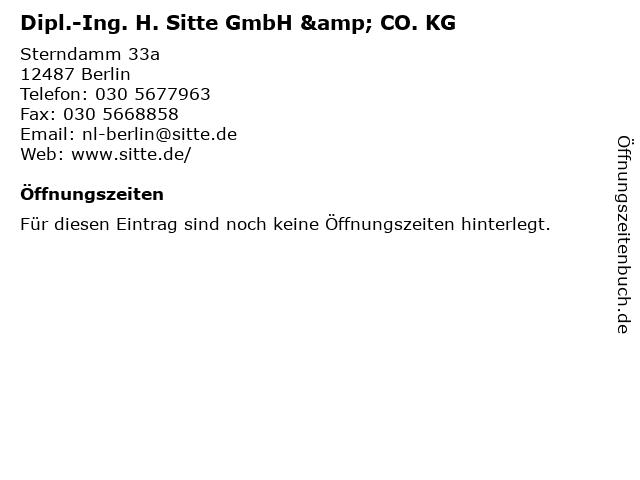 Dipl.-Ing. H. Sitte GmbH & CO. KG in Berlin: Adresse und Öffnungszeiten