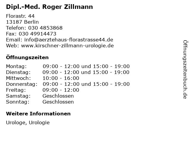 Dipl.-Med. Roger Zillmann in Berlin: Adresse und Öffnungszeiten