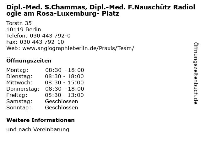 Dipl.-Med. S.Chammas, Dipl.-Med. F.Nauschütz Radiologie am Rosa-Luxemburg- Platz in Berlin: Adresse und Öffnungszeiten