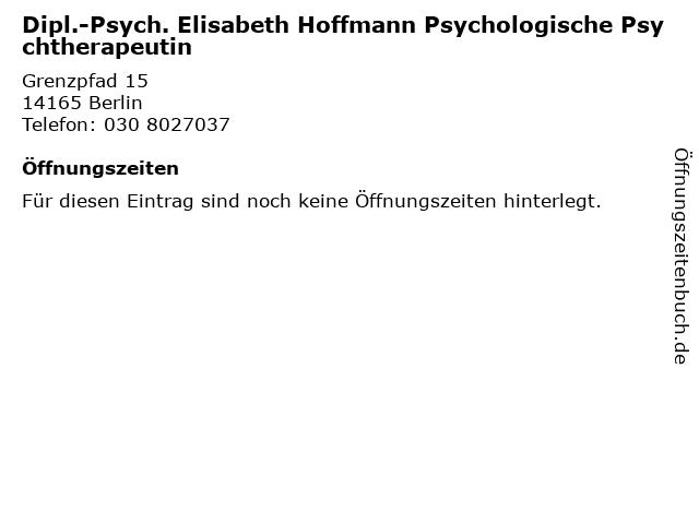 Dipl.-Psych. Elisabeth Hoffmann Psychologische Psychtherapeutin in Berlin: Adresse und Öffnungszeiten