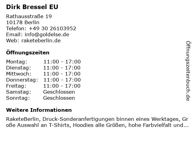 Dirk Bressel EU in Berlin: Adresse und Öffnungszeiten