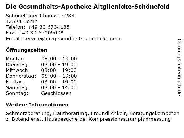 DocMorris Apotheke Altglienicke-Schönefeld in Berlin: Adresse und Öffnungszeiten