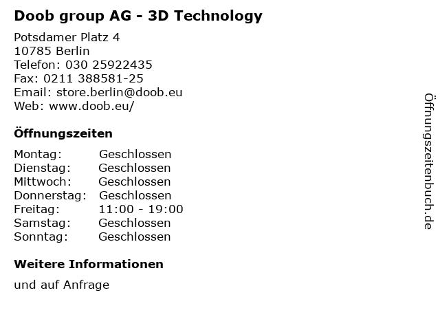 Doob group AG - 3D Technology in Berlin: Adresse und Öffnungszeiten