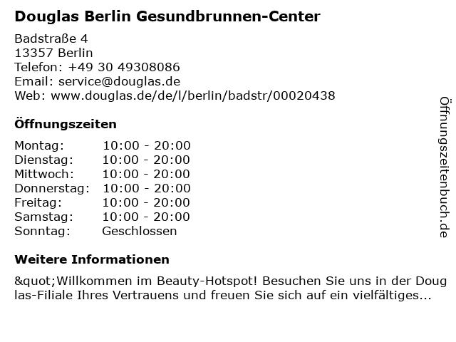 Parfümerie Douglas Berlin Gesundbrunnen in Berlin: Adresse und Öffnungszeiten