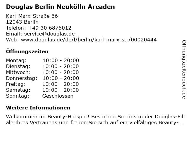 Parfümerie Douglas Berlin Neukölln in Berlin: Adresse und Öffnungszeiten