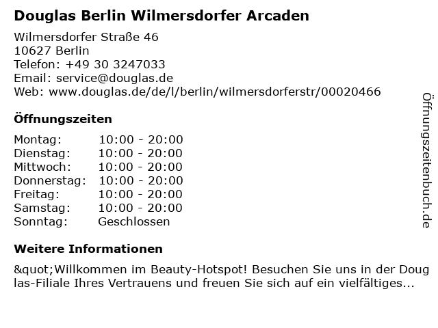 Parfümerie Douglas Berlin Charlottenburg in Berlin: Adresse und Öffnungszeiten